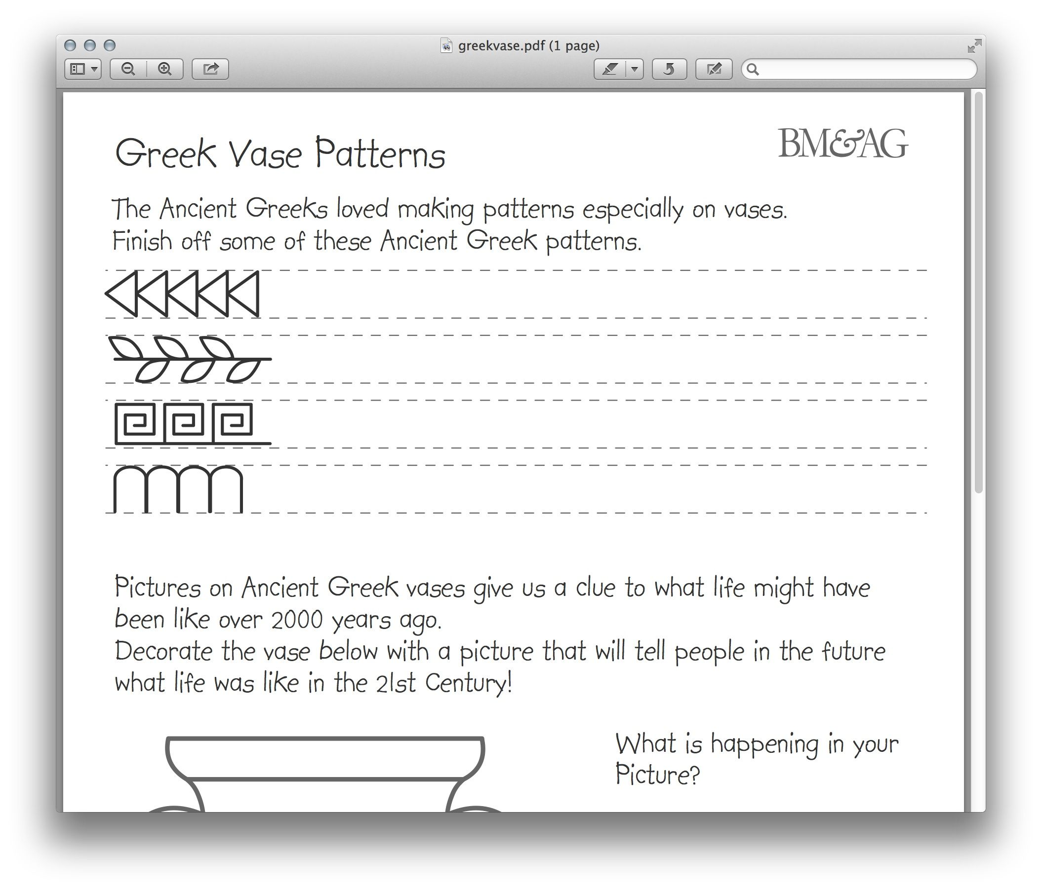 Greek Pottery And Patterns Worksheet