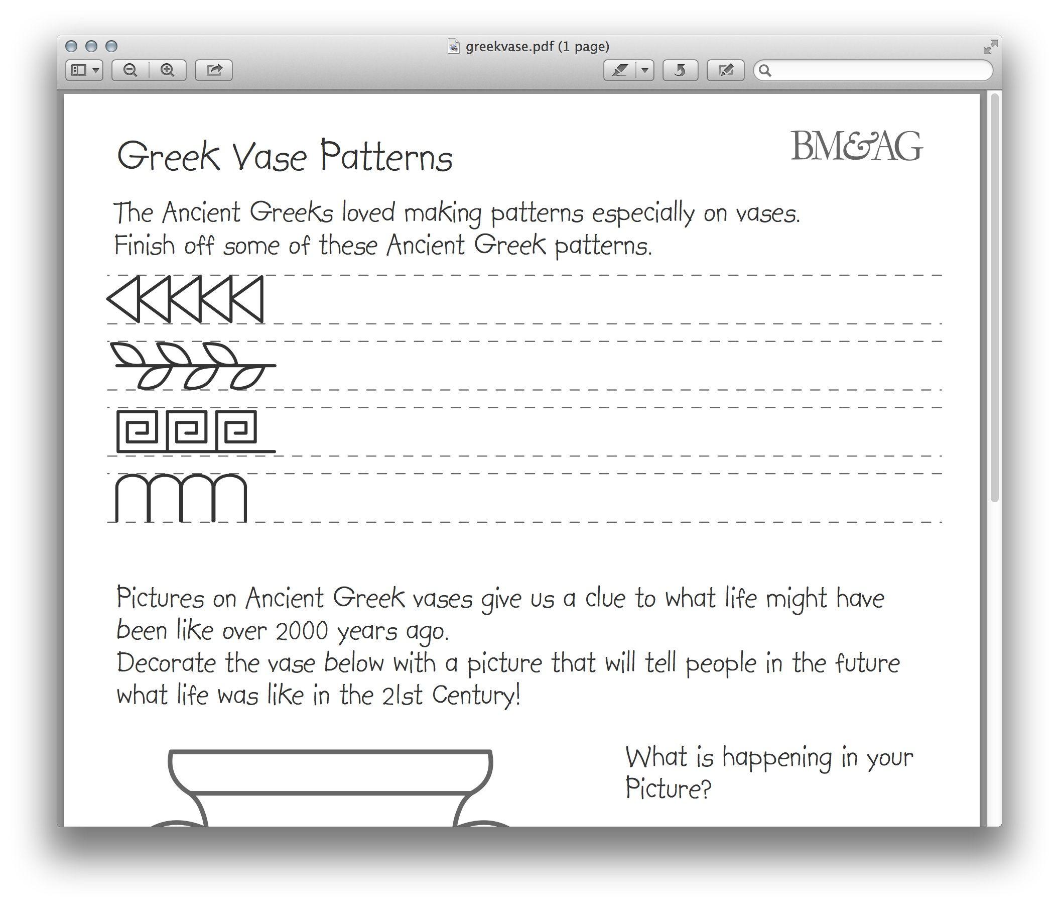 Greek Pottery Nd P Tterns W Ksheet Mystery Of Hist Y Volume 1