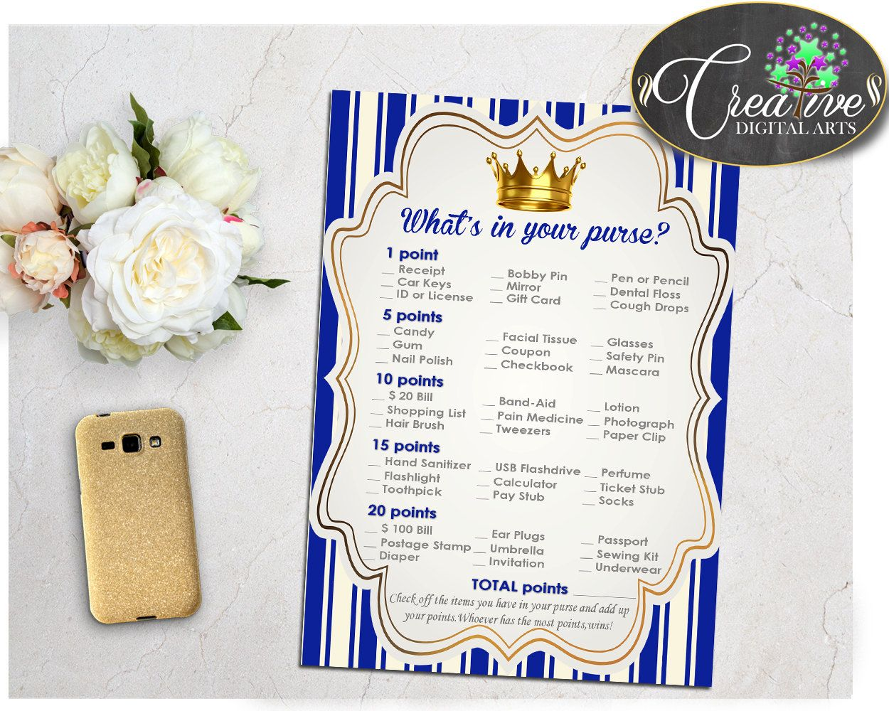 What S In Your Purse Royal Blue Baby Shower Game Little