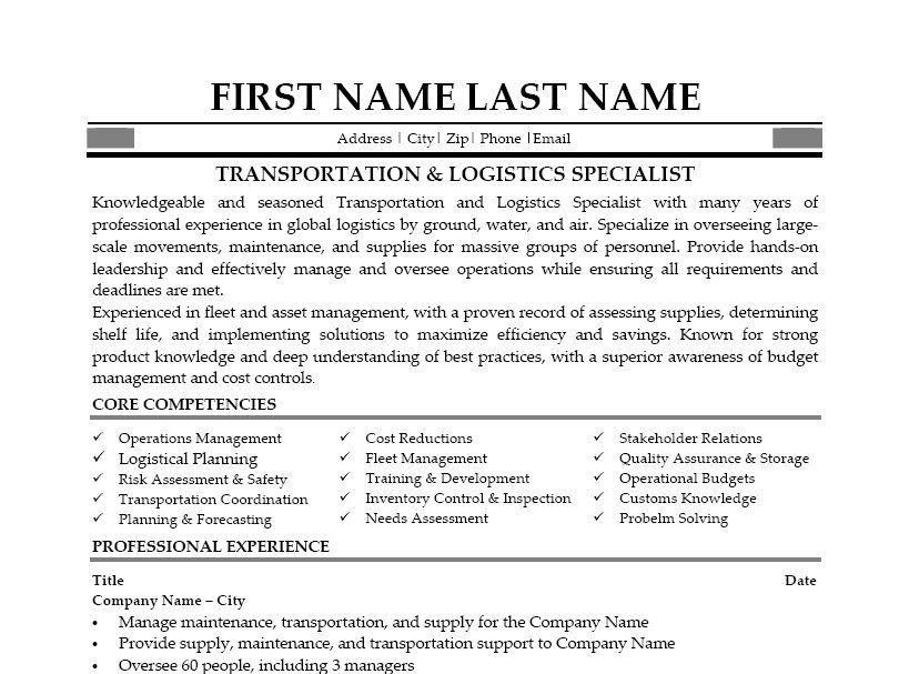Transportation Logistics Resume Examples. This Was Written By One