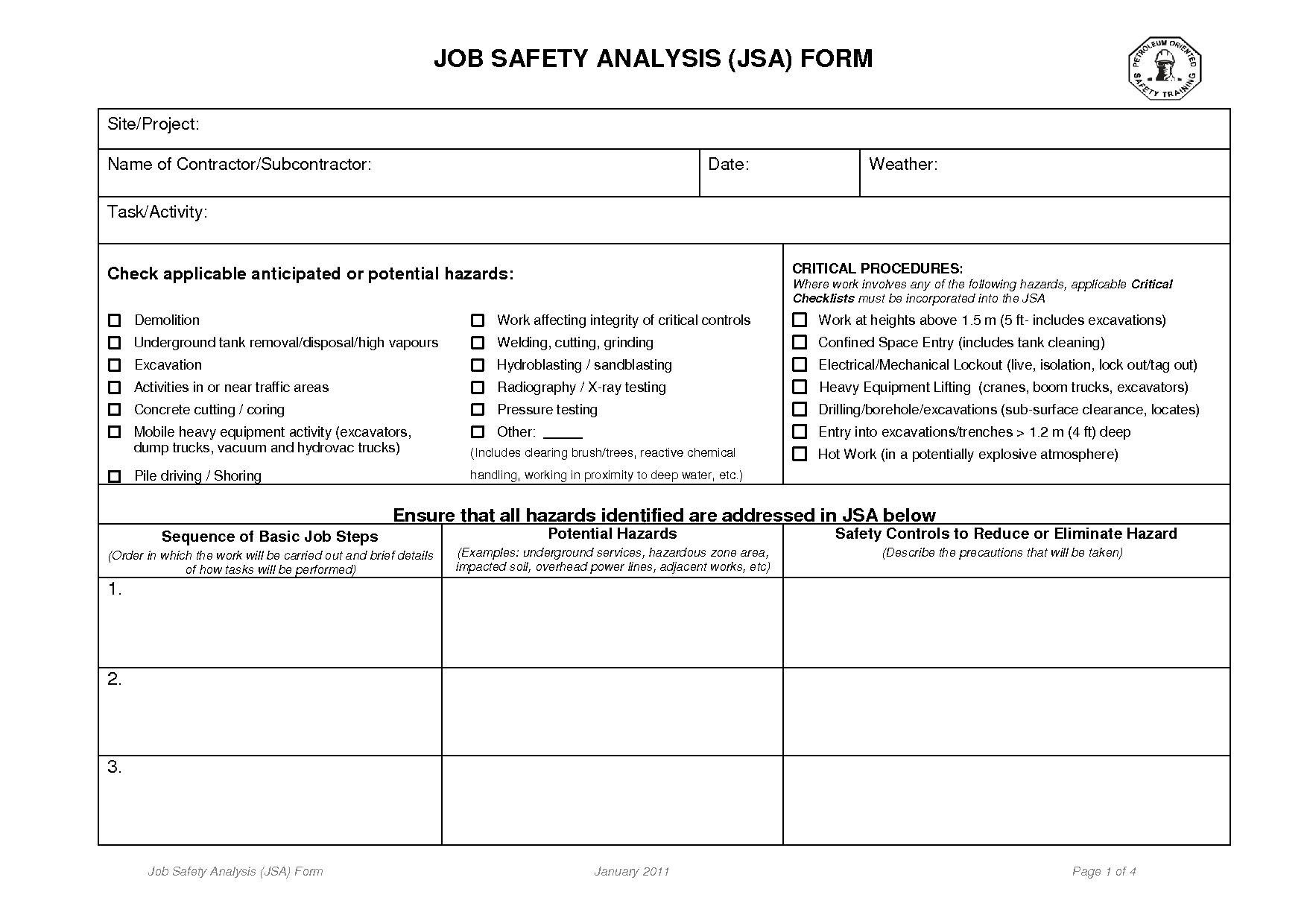 Job Safetyysis Forms