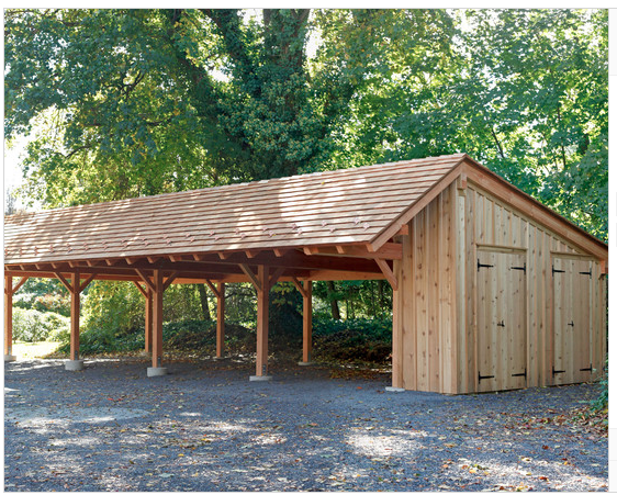 carport idea with wood storage and other storage...solar