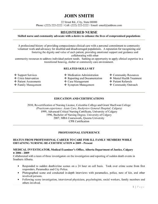 Good Nursing Resume Examples. Er Emergency Room Free. Writing