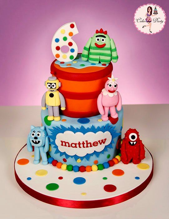 Fondant Yo Gabba Gabba Cake Two Tier Green Blue Yellow Red