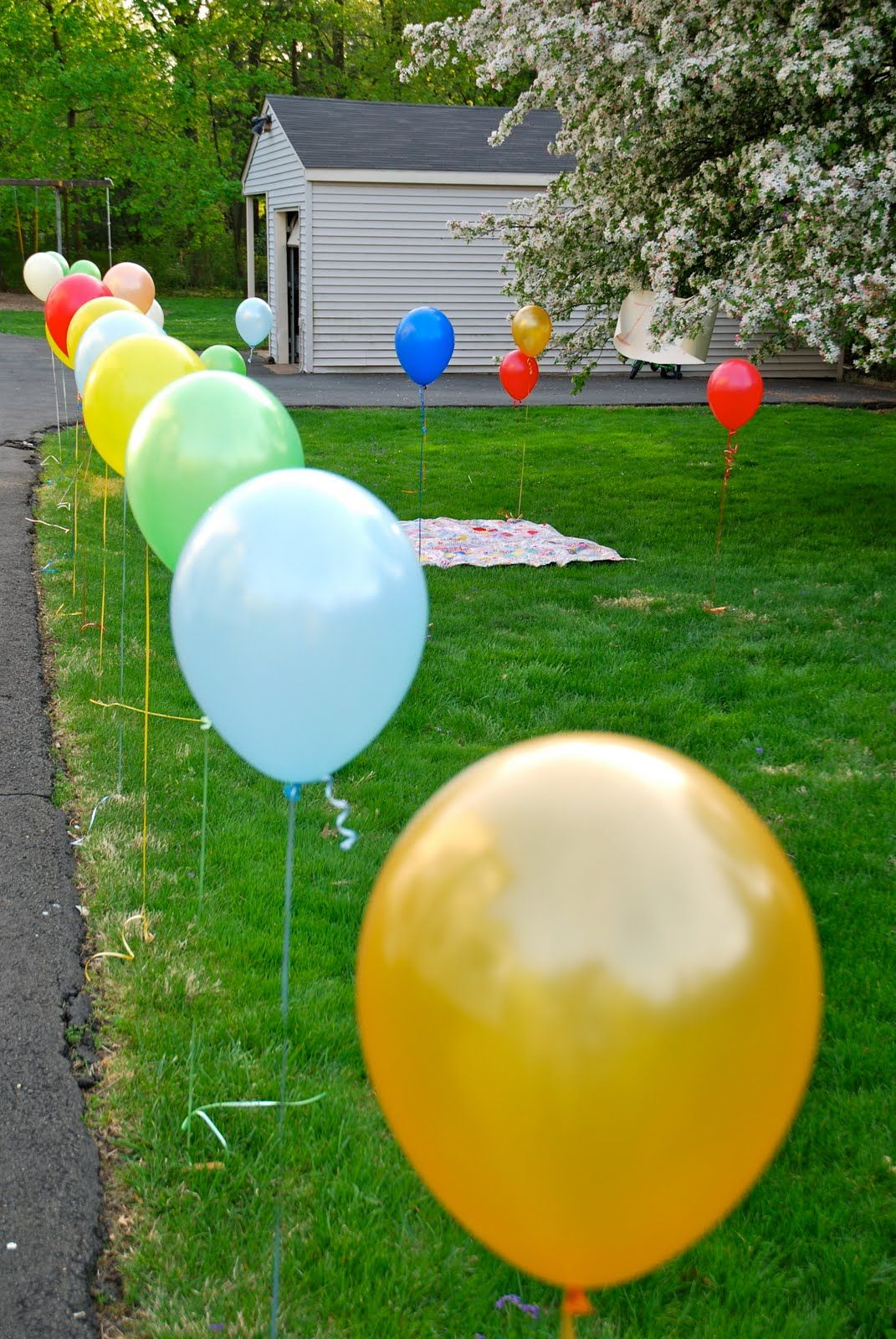 Super cute way to define the picnic area, get red balloons