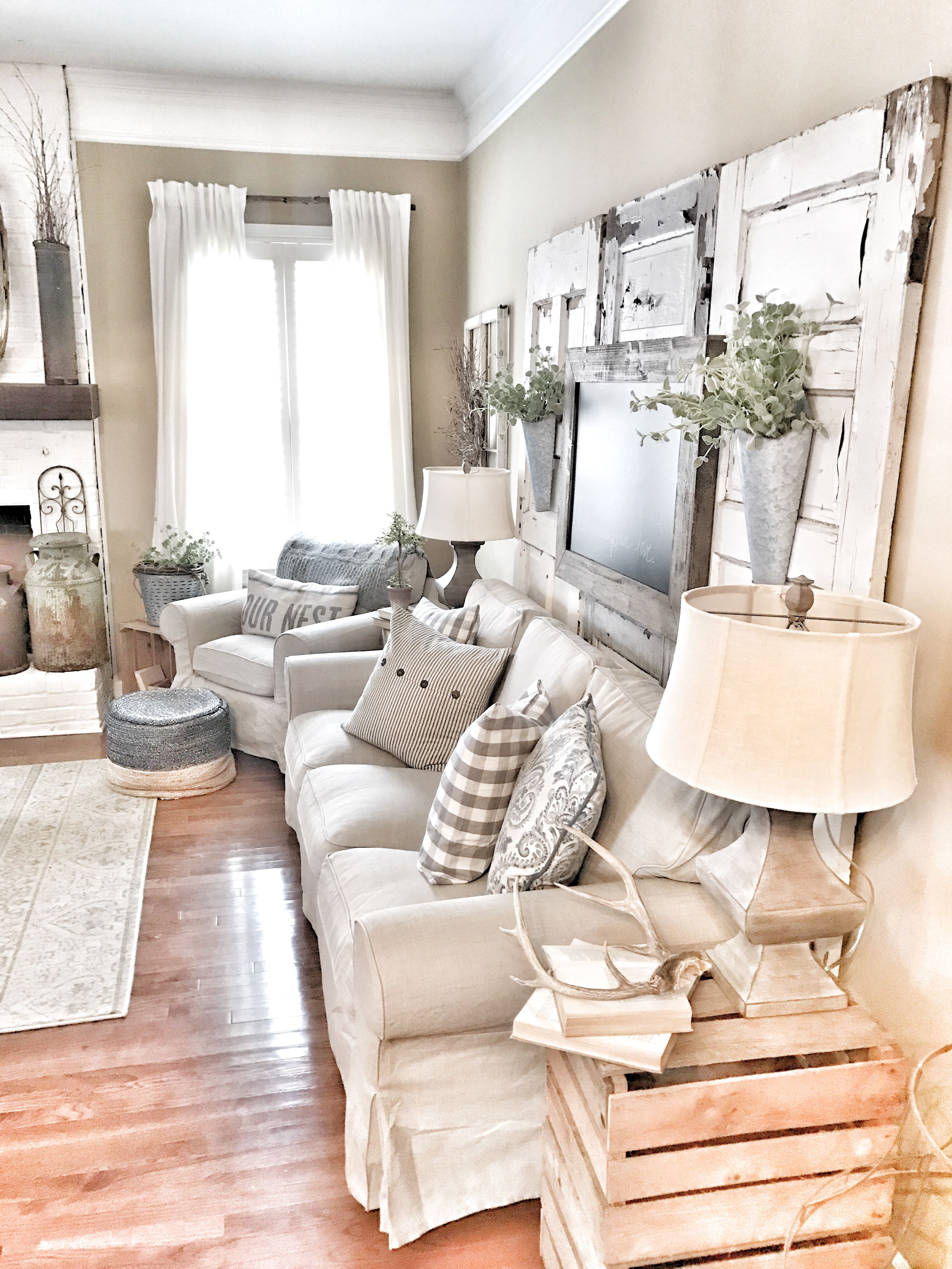 Farmhouse living room! IKEA curtains and couch with chippy