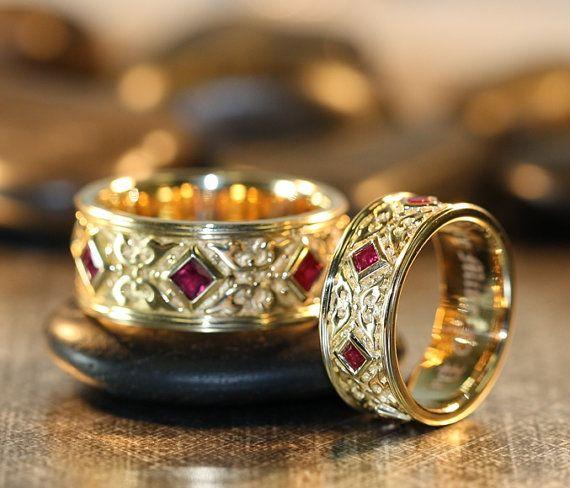 Celtic Wedding Ring Set 14k Yellow Gold Princess Cut Ruby