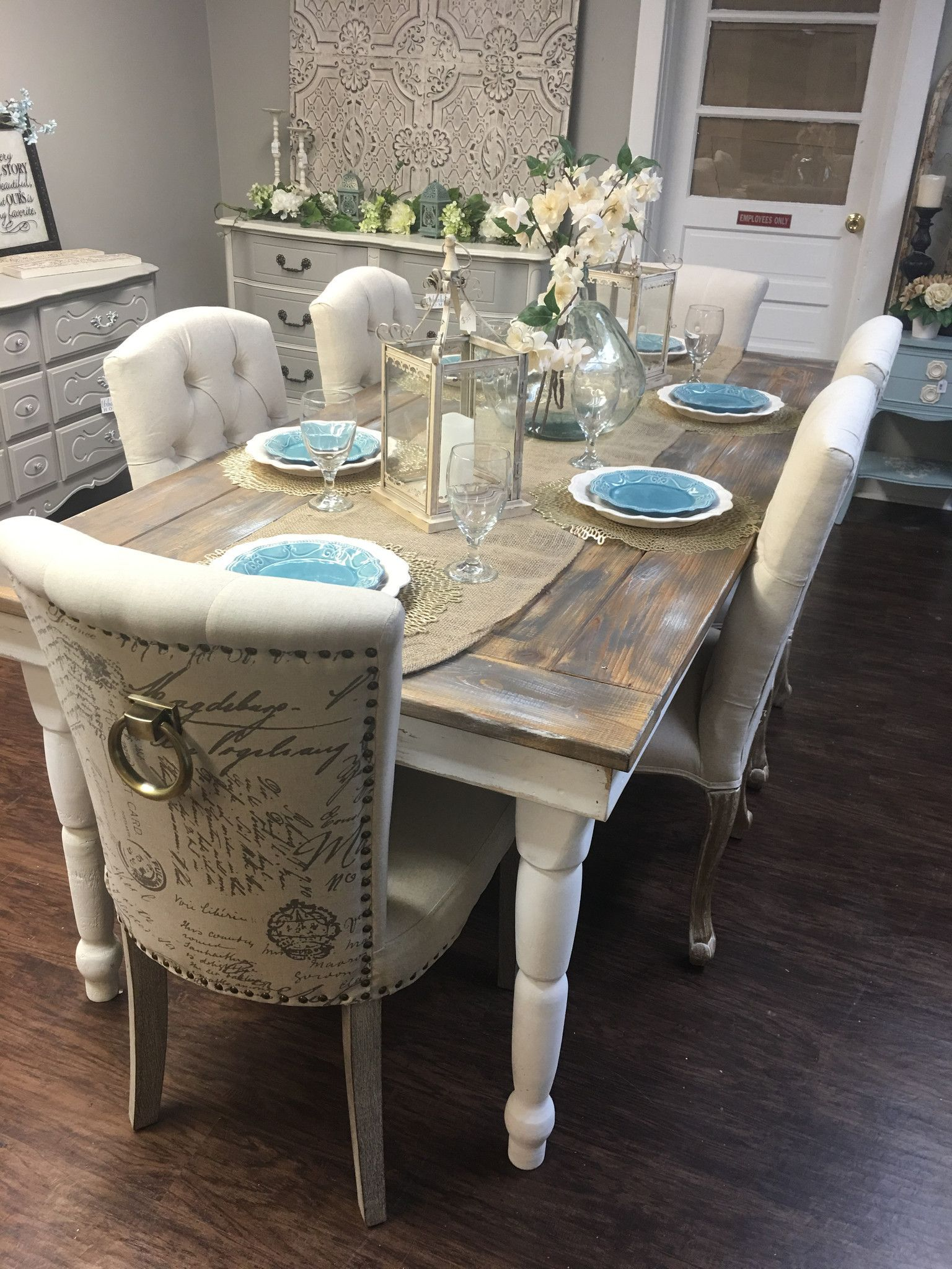 Beautiful farmhouse table seats up to eight. Table top