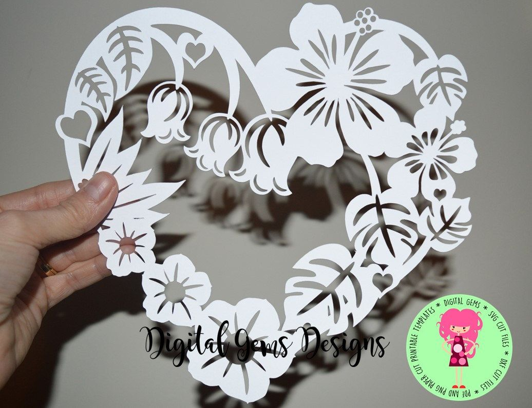 Flower frame paper cut svg / dxf / eps files and pdf / png