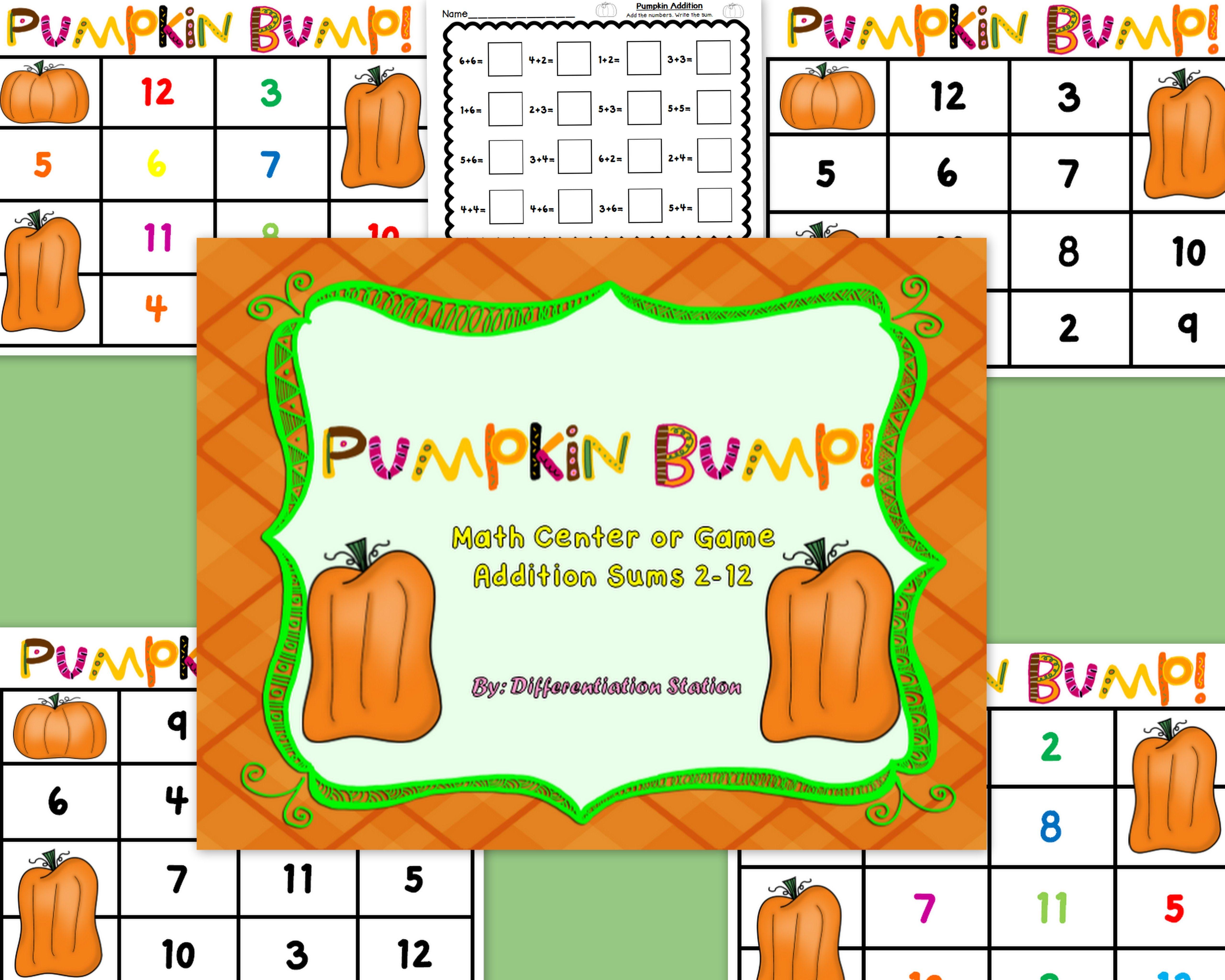 Free Pumpkin Bump A Pumpkin Fall Themed Math Center