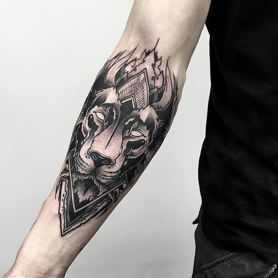 BlackworkarmliontattooOtheserSakeTattooCrew Tattoos