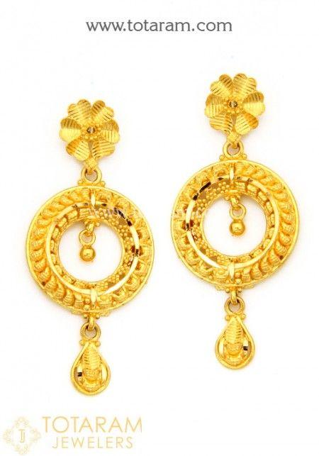 Gold Drop Earrings Online 22k Indian Back South