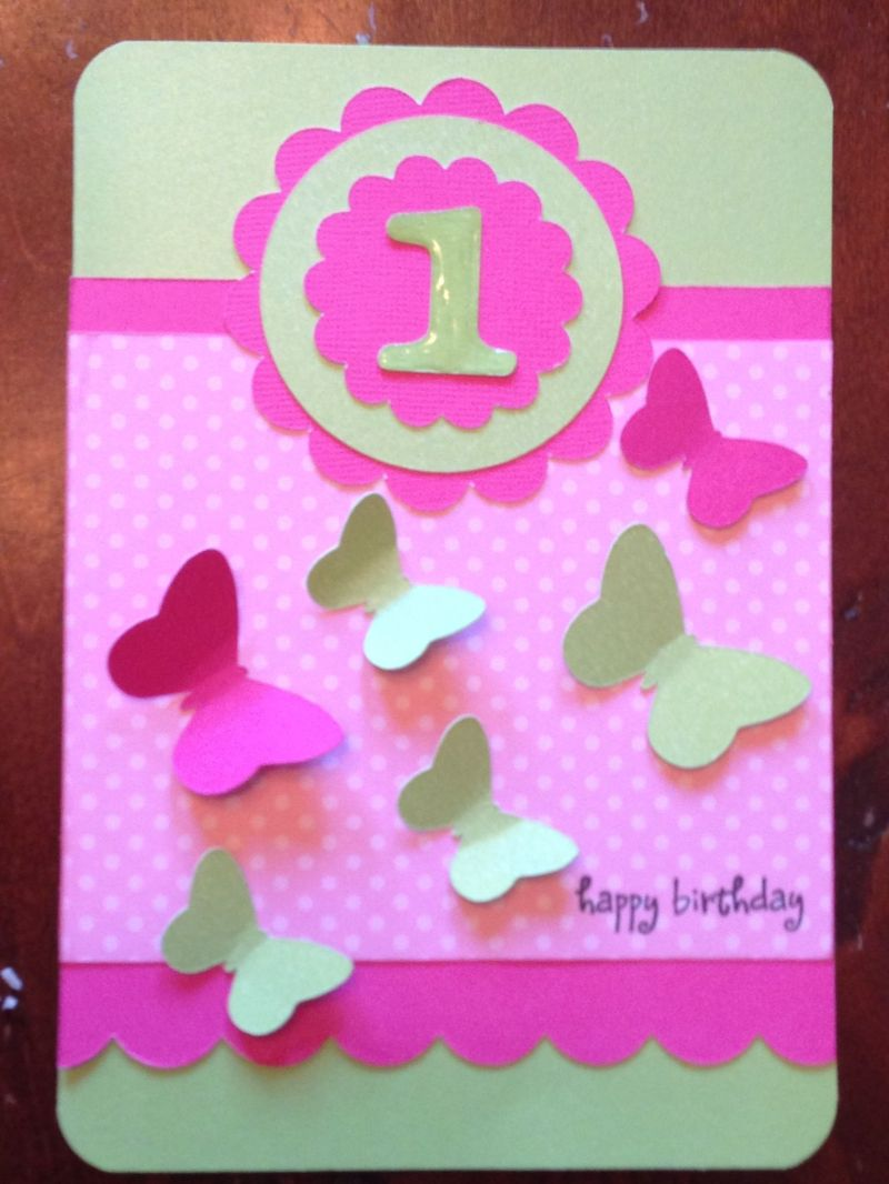 Baby girls 1st birthday card i made scrapbooking and