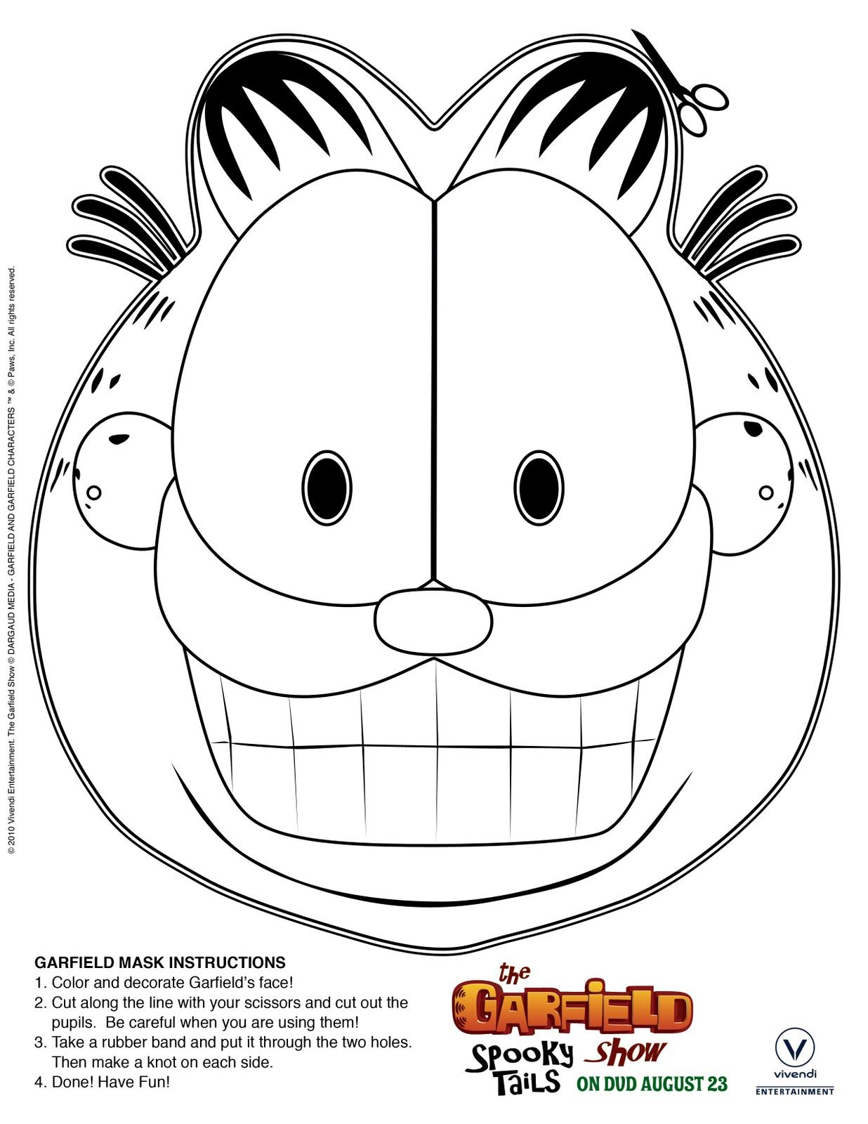 Free Printable Print Amp Color Garfield Mask