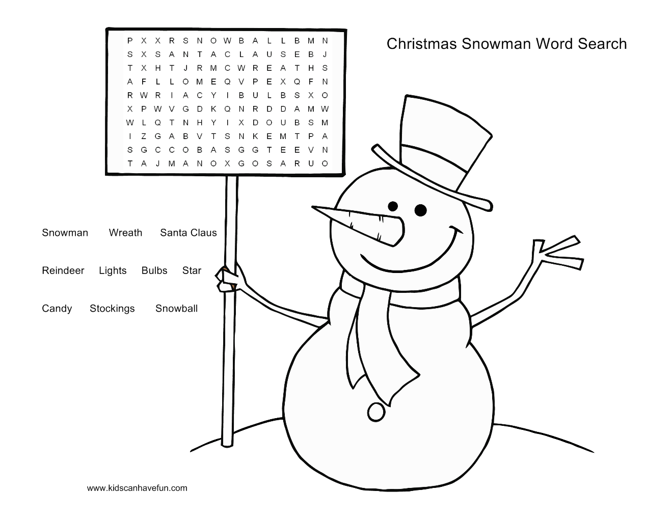 Snowman Word Search Puzzle For The Kids