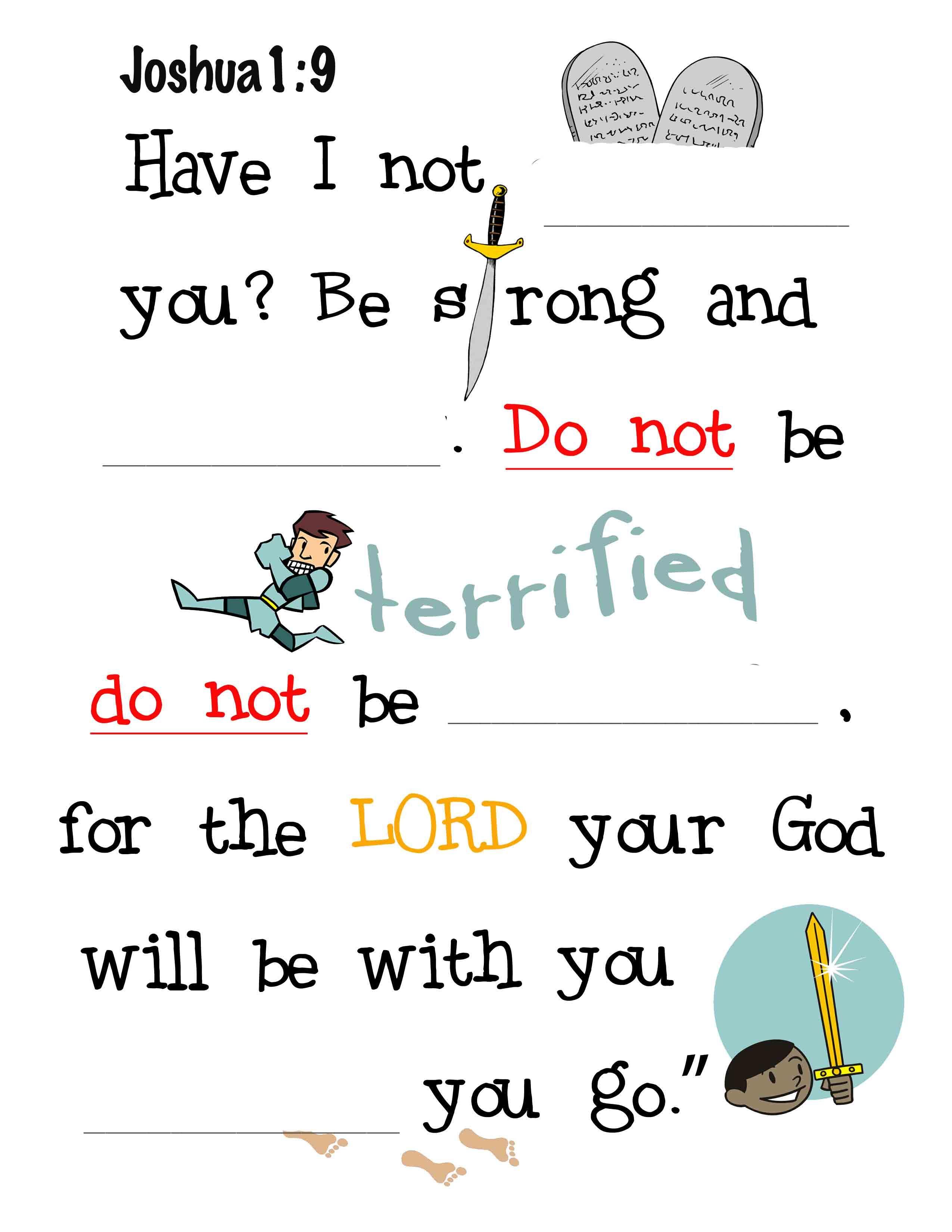 Joshua 1 9 Fill In The Blanks For Kids