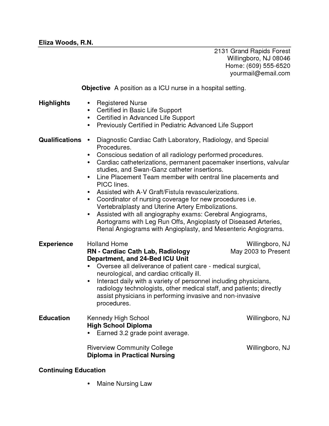 sample registered nurse resume ideas about rn resume nursing