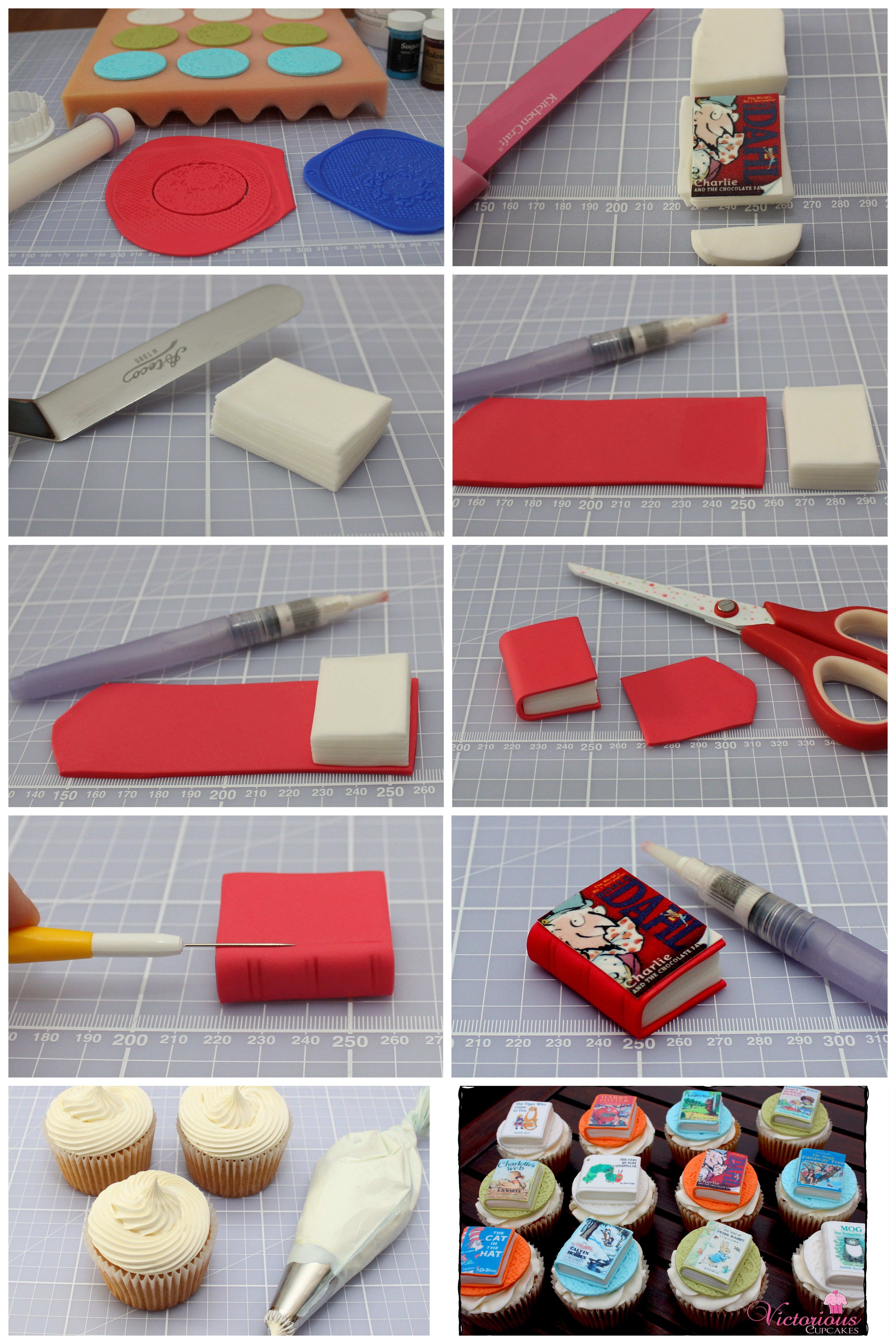 *Free Tutorial* Book cupcake toppers ) For all your