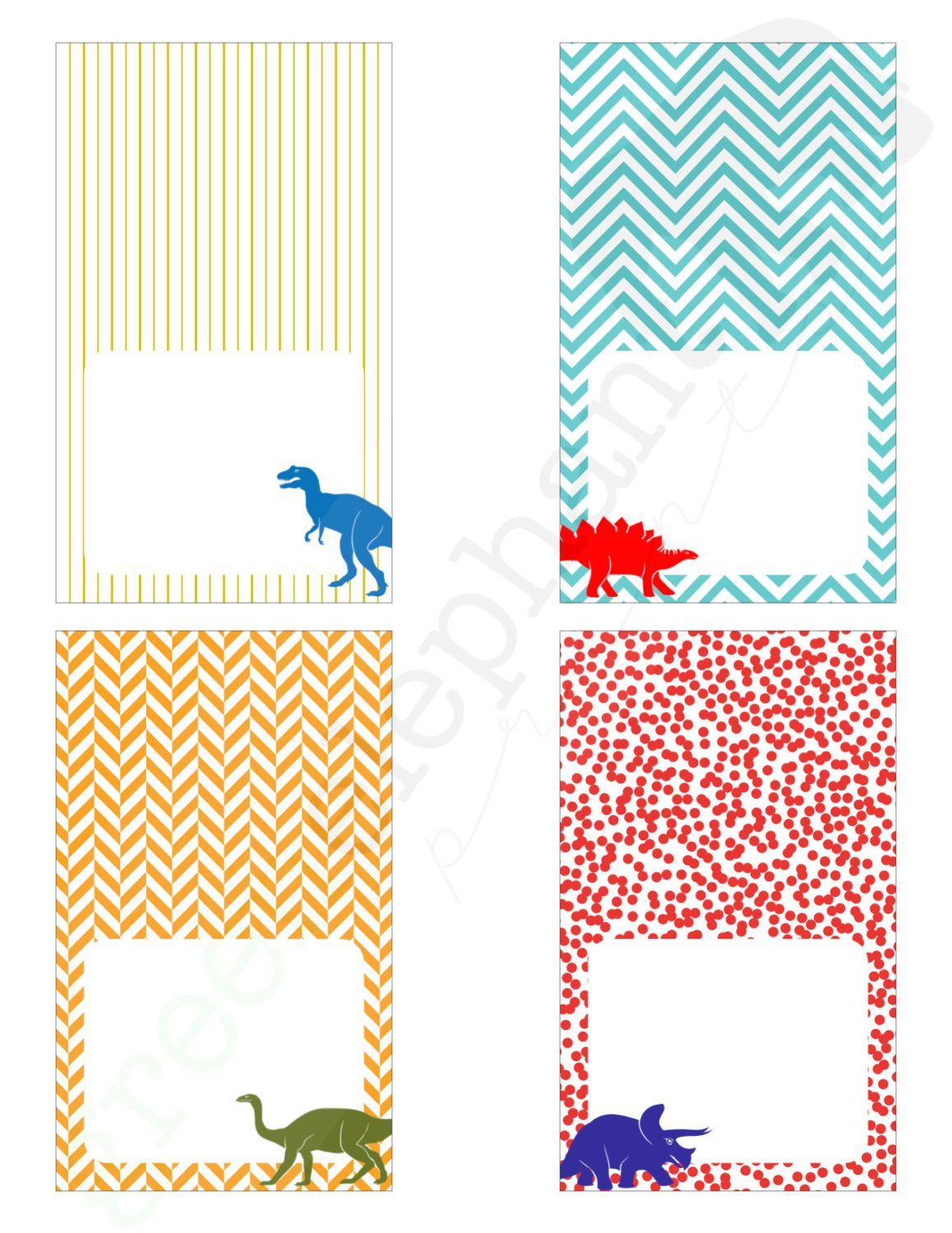 Dinosaur Birthday Party Printable Table Tents Food