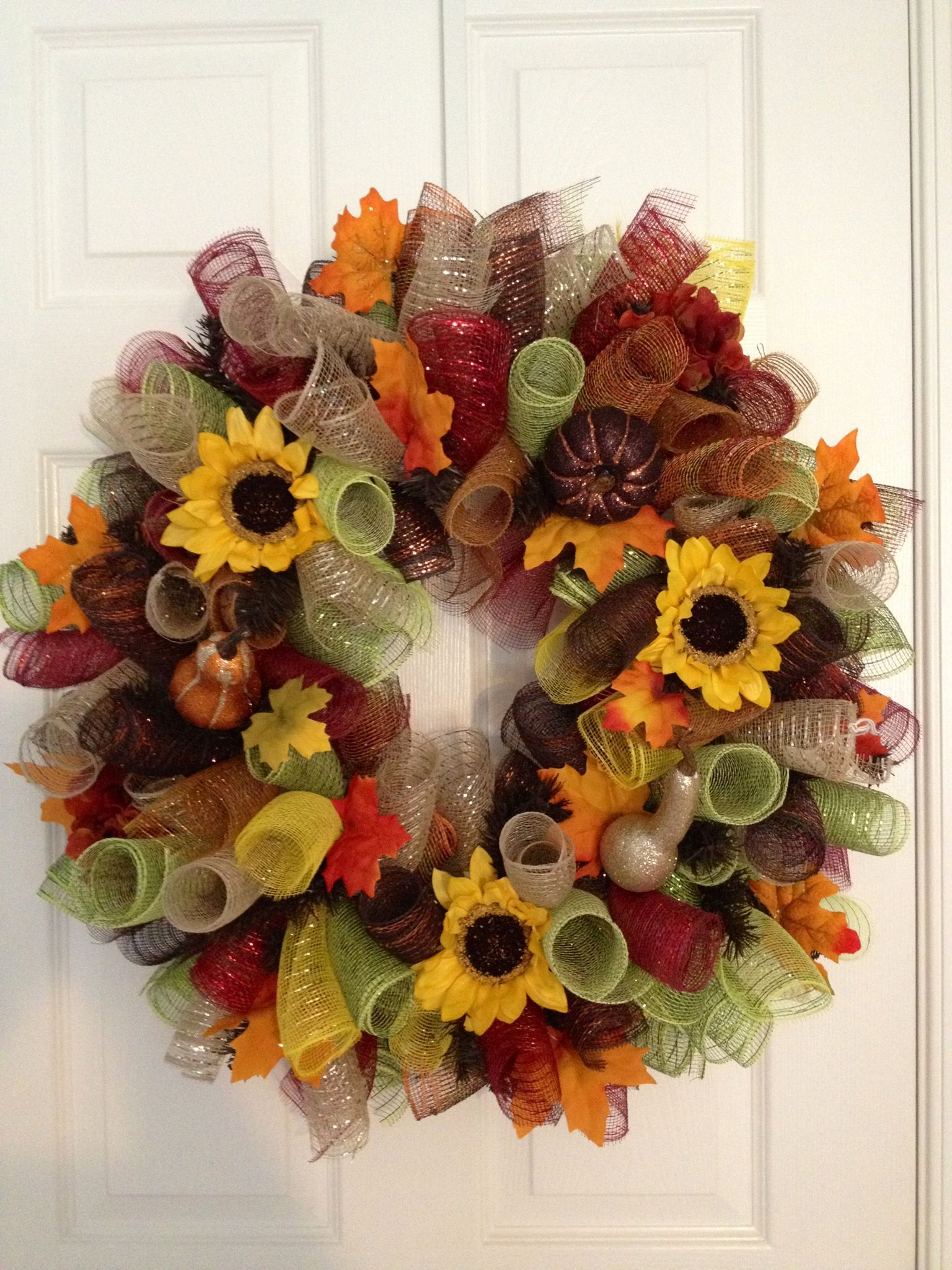 Autumn curly deco mesh wreath! Gina's Creations