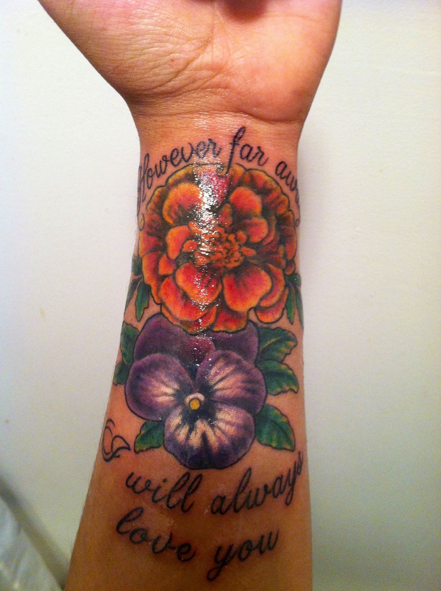 """However far away, I will always love you"" with a marigold"