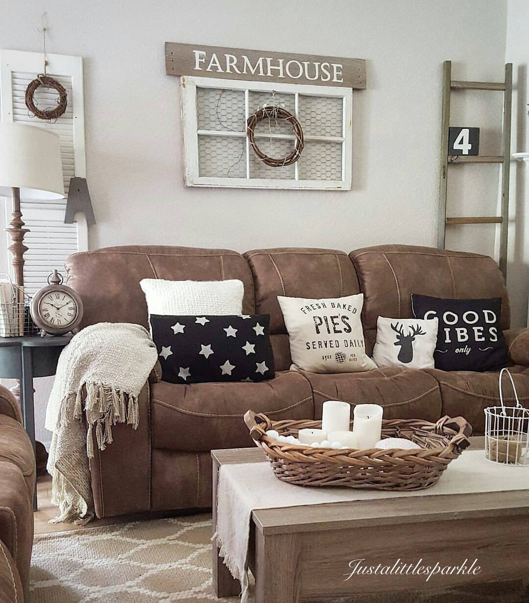 Brown couch, rustic home , rustic living room, farmhouse