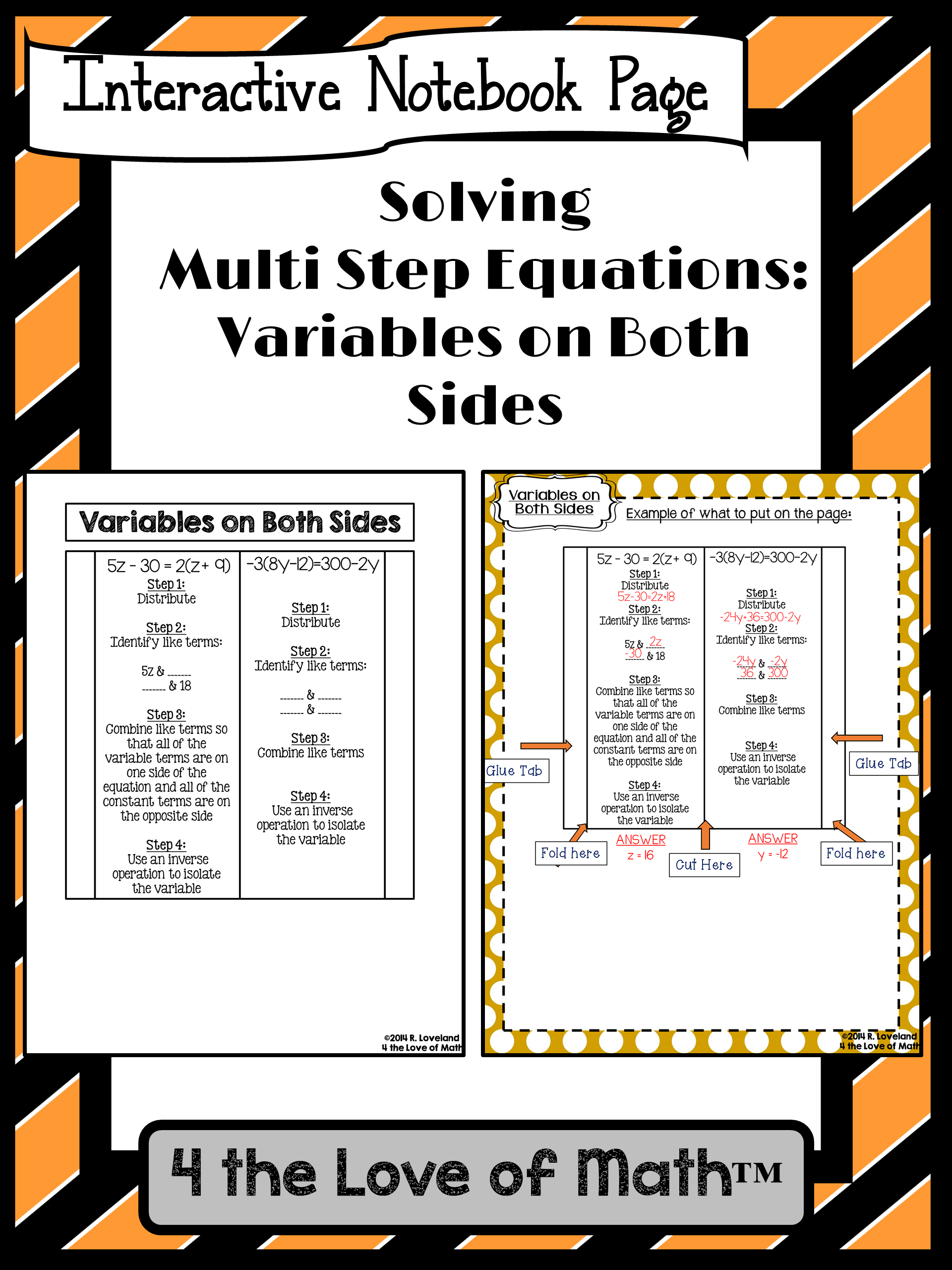 Multi Step Equations With Variables On Both Sides Foldable
