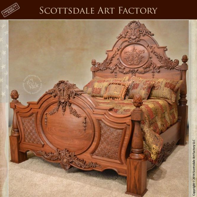 Hand Carved Bed Walnut Custom Wood Bedroom Furniture By The Hands Of Our