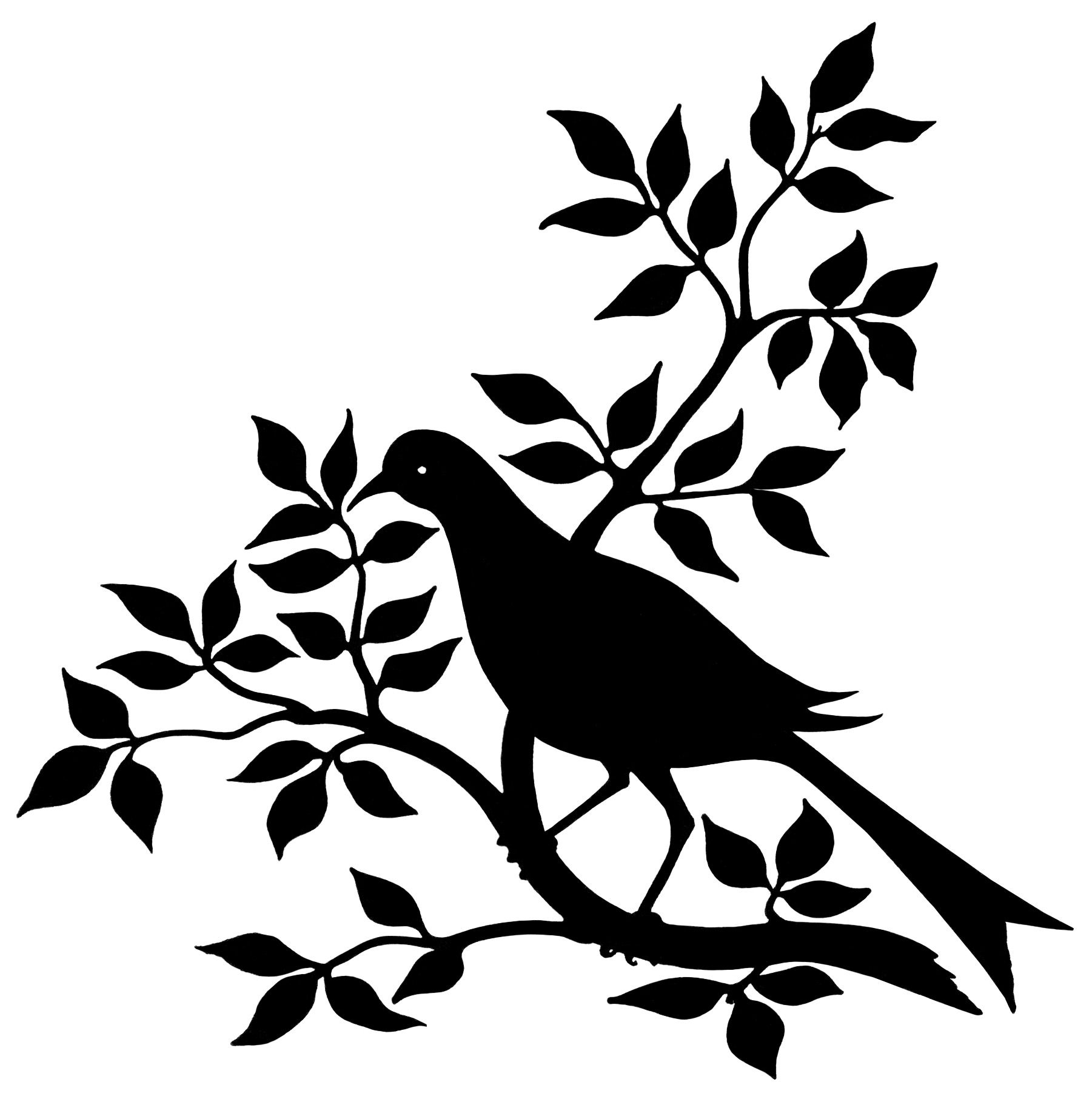 Bird Branch Silhouette Black And White Graphic Vintage
