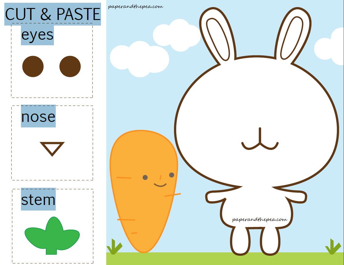 Bunny Carrot Cut And Paste Free Worksheet
