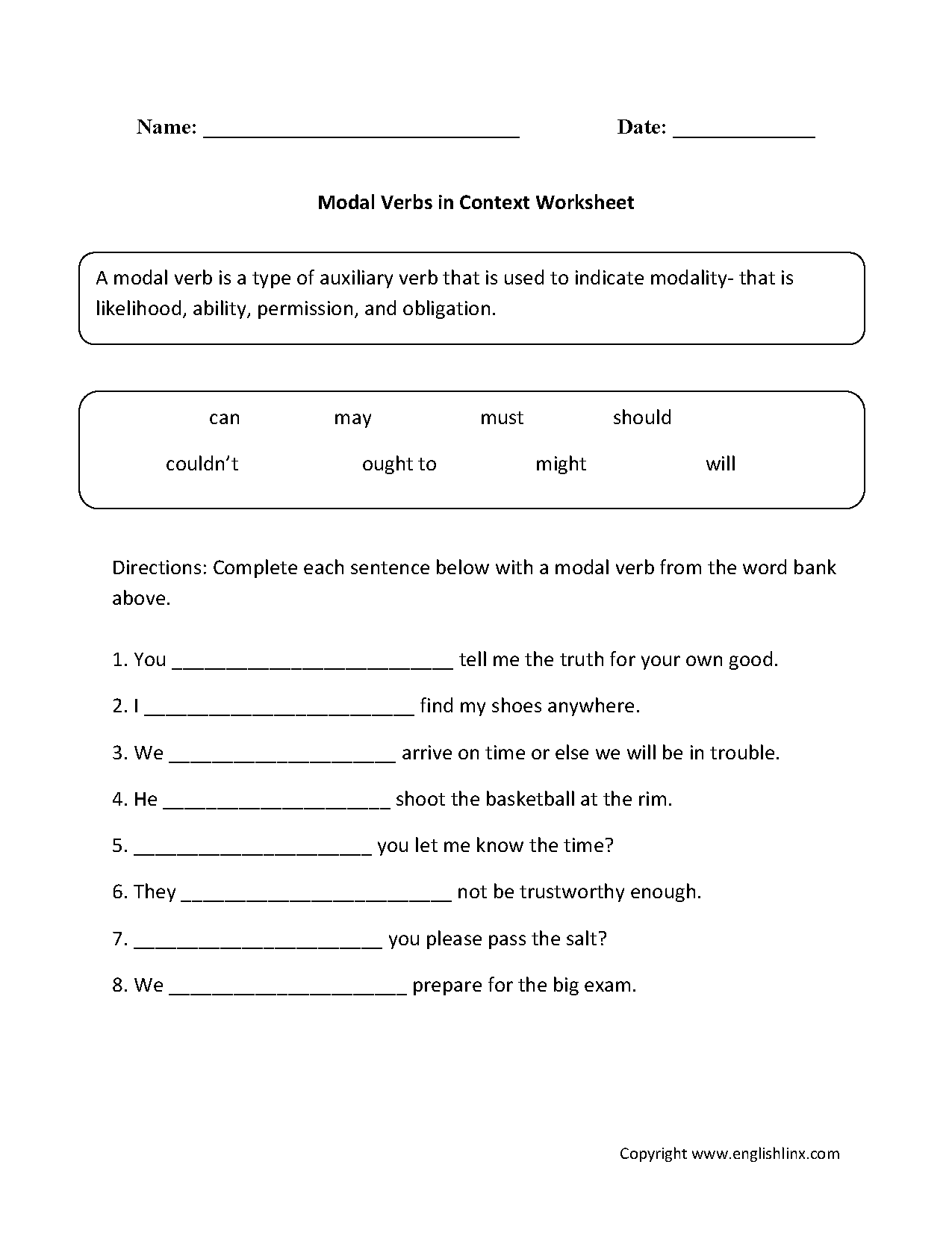 Modal Verbs In Context Worksheet