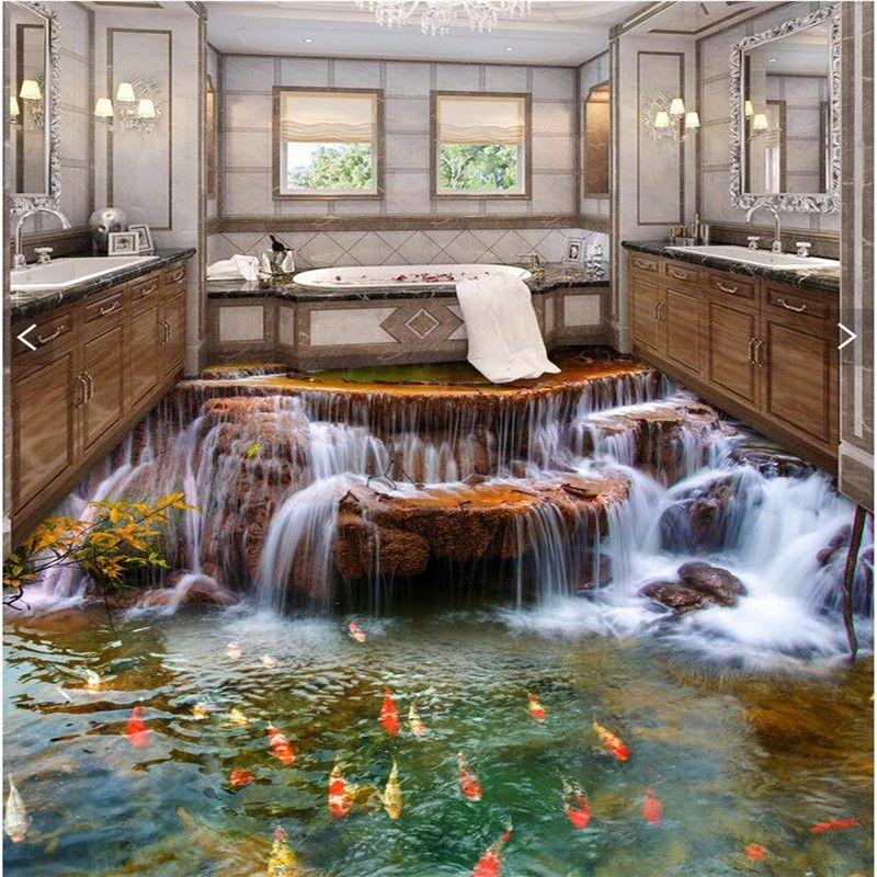 Podłoga zwyczaj 3D Tapety Mural3d wody rzeki karpia