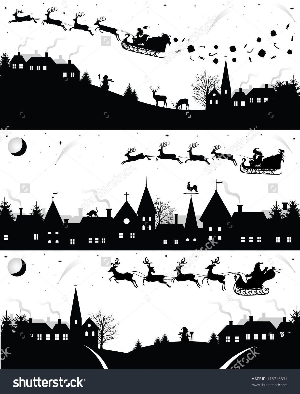 Set Of Christmas Silhouettes. Illustration vectorielle