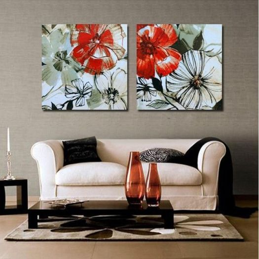 Paint By Numbers Free Shipping Wall Art Red Flowers Canvas Painting Living Room Modern Pictures