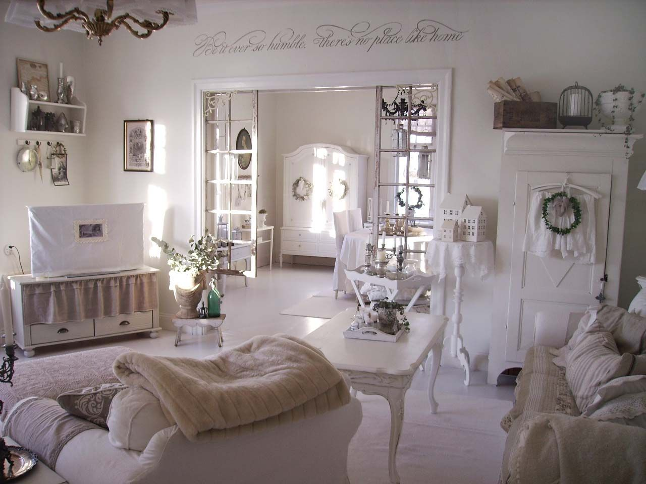 Living Room Dining Room Whitewashed Chippy Shabby Chic