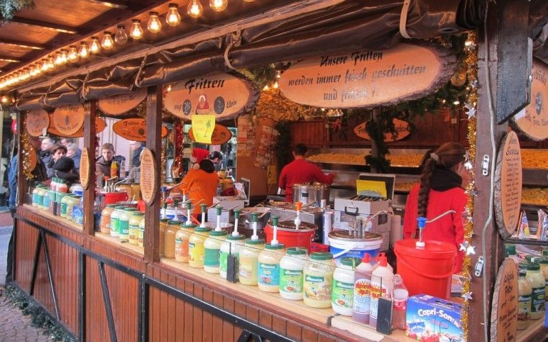 Frankfurt Christmas Market fritten or french fries food in