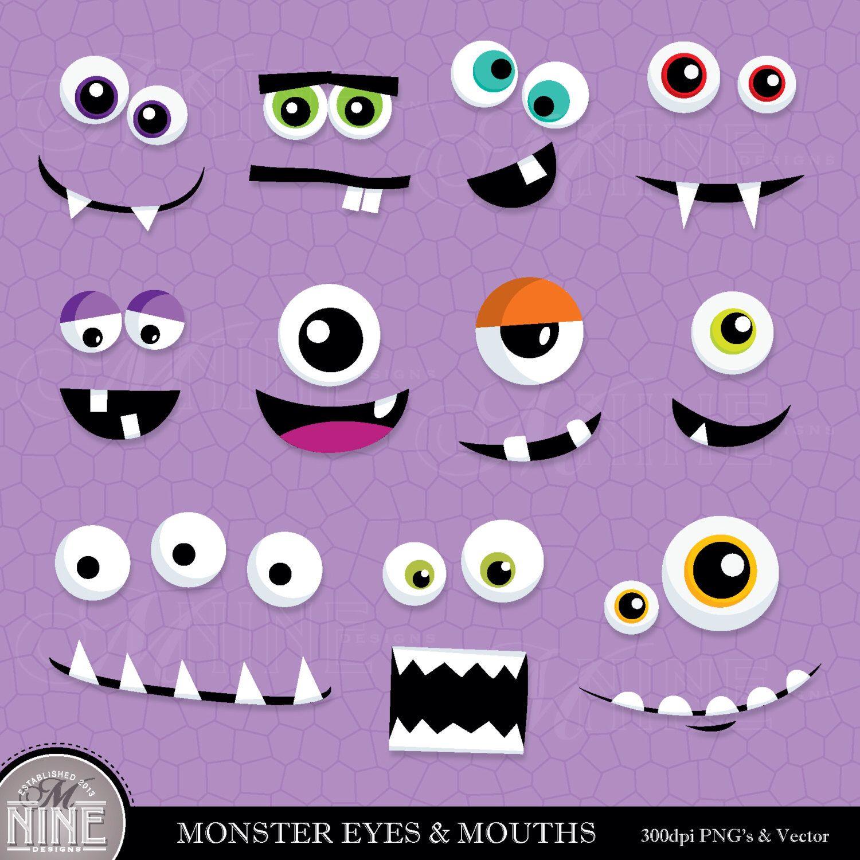 Monster Eyes Amp Mouths Clip Art Digital Clipart Instant
