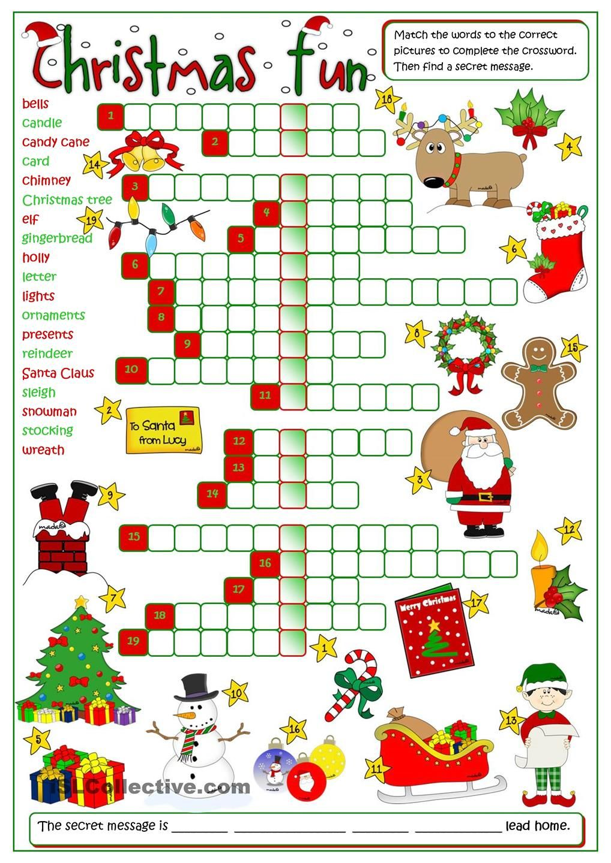 Christmas fun crossword CHRISTMAS Pinterest