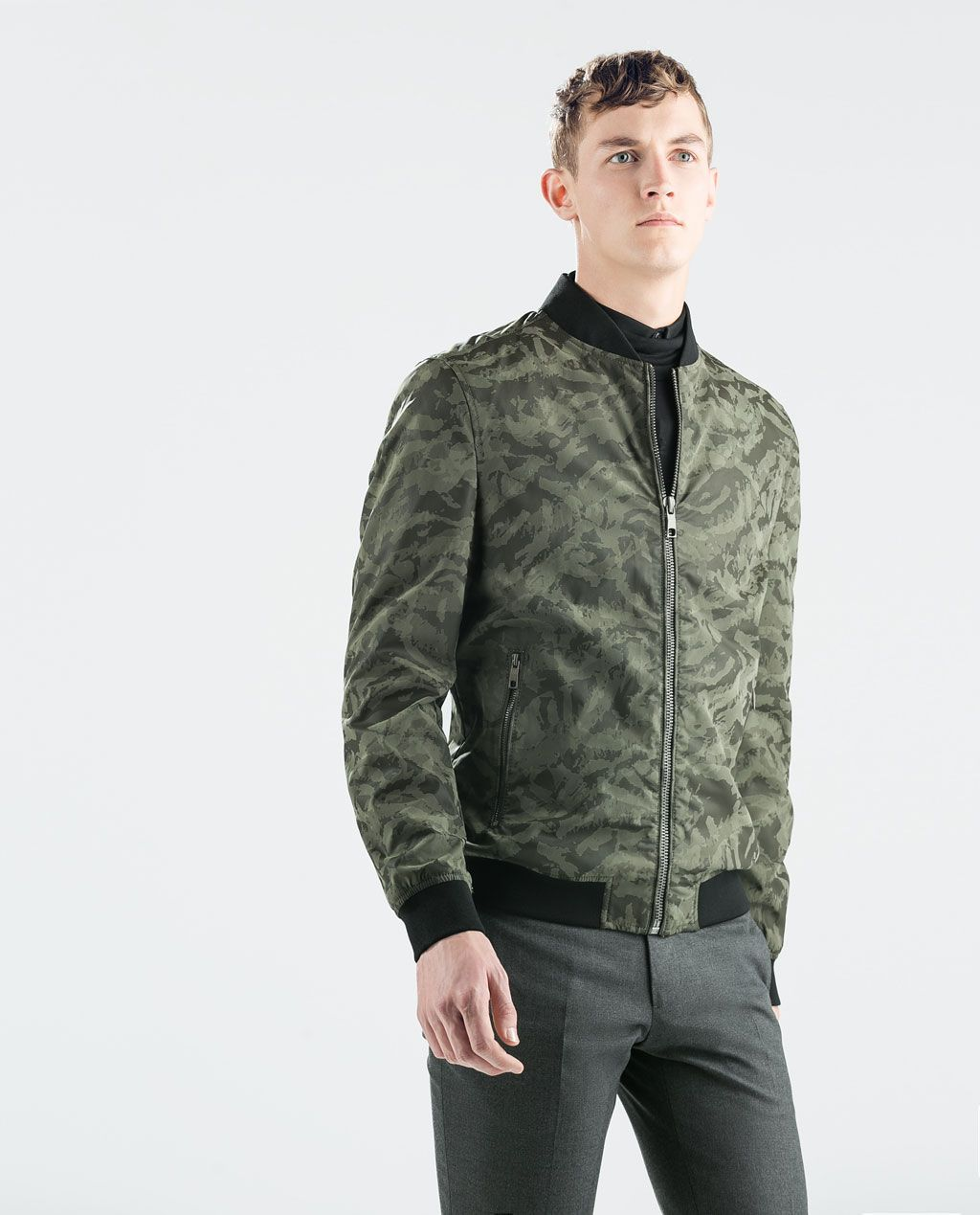 ZARA SALE CAMOUFLAGE FAUX LEATHER BOMBER fashion