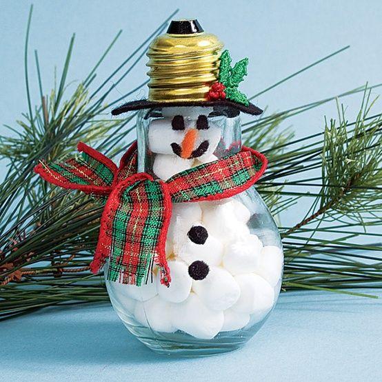 Christmas Crafts Pinterest   Christmas craft, kids craft, recycled lightbulb sno