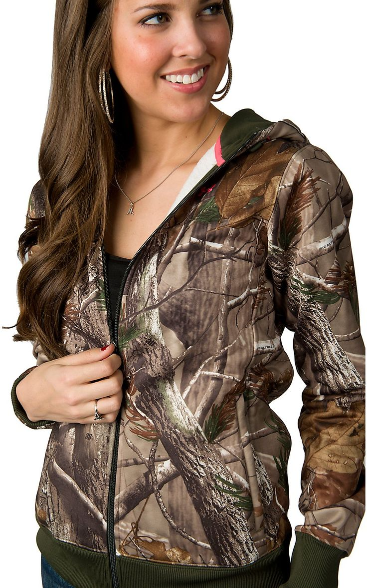 Under Armour Cold Gear Womens Realtree Camo Zip Up Hooded Jacked | Cavenders Boo