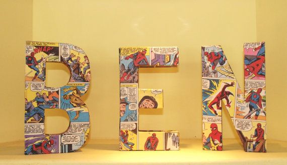 Spiderman covered 3D letter by roobarbgifts on Etsy, 8.00-Love this idea for Nat