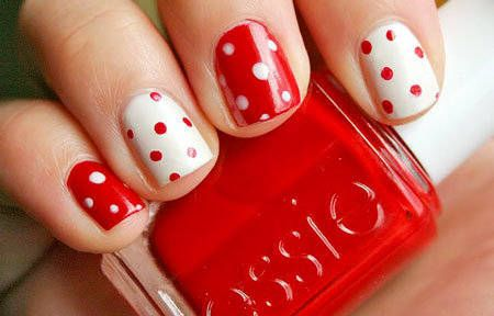 alternating red and white polka dot nails