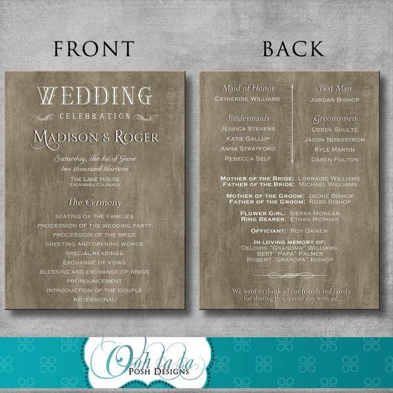 Rustic Elegant Wedding Program  DIY  by OohlalaPoshDesigns on Etsy, $35.00