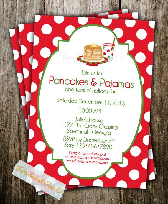 Pancakes and Pajamas Invitation Christmas Holiday by 2SweetTeas, $16.00 Love thi