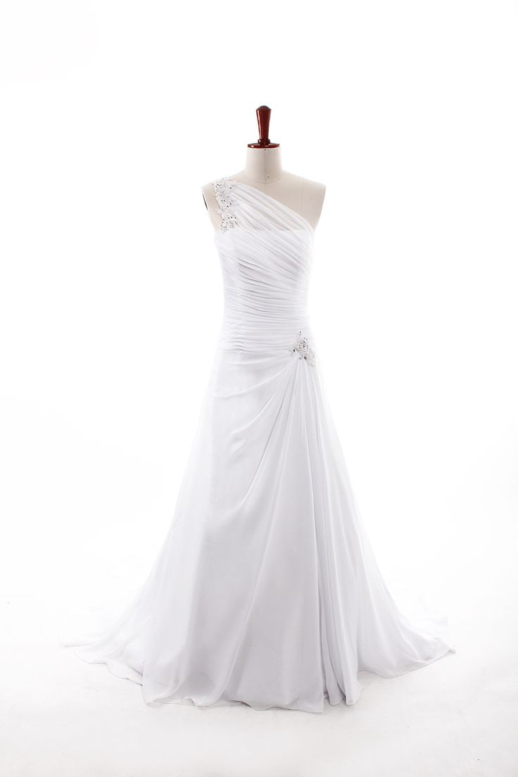 Fashionable One Shoulder Dropped waist Chiffon wedding dress….this is gorgeous