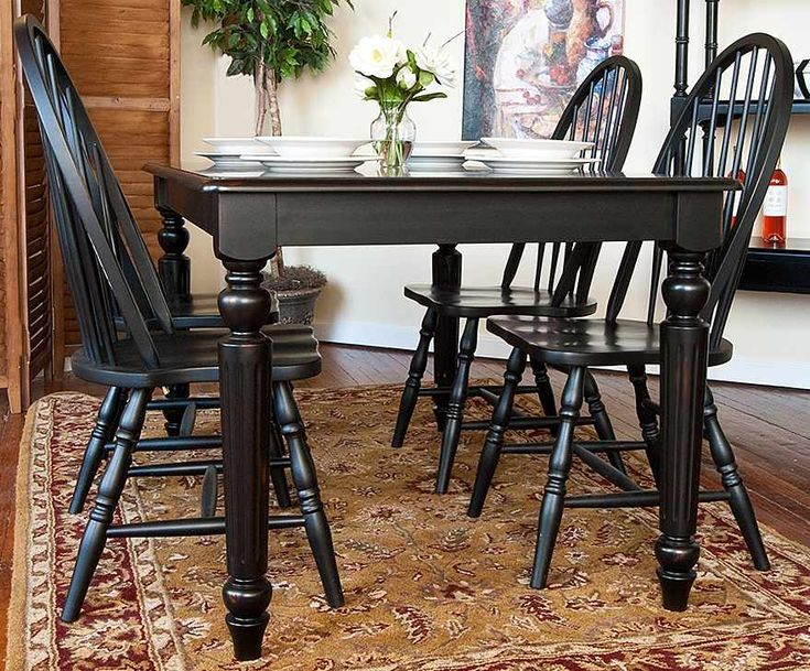 Dining Table & Windsor Chairs Set in Antique Black Finish, color idea to refinis