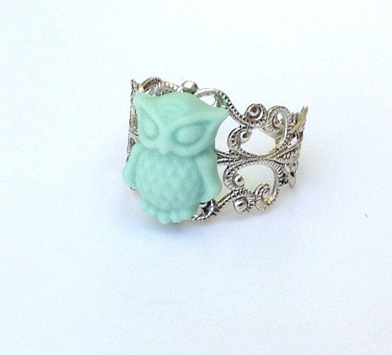 Mint Green Jewelry Owl Jewelry Owl Ring Cute by PiperPixieDesigns