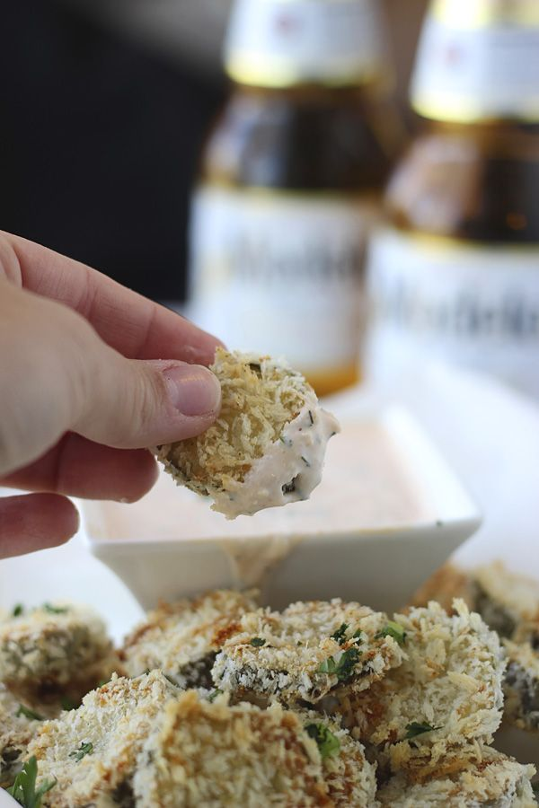 Baked Fried Pickles with Homemade Sirracha Ranch! Easy and healthy!