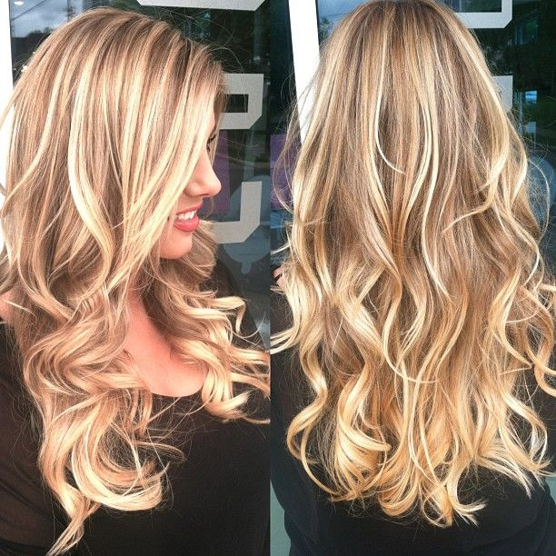 Beachy blonde highlights on top, color melt everything else from light brown to